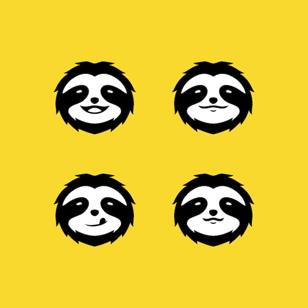 Sloth face logo sur jaune Vecteur Premium