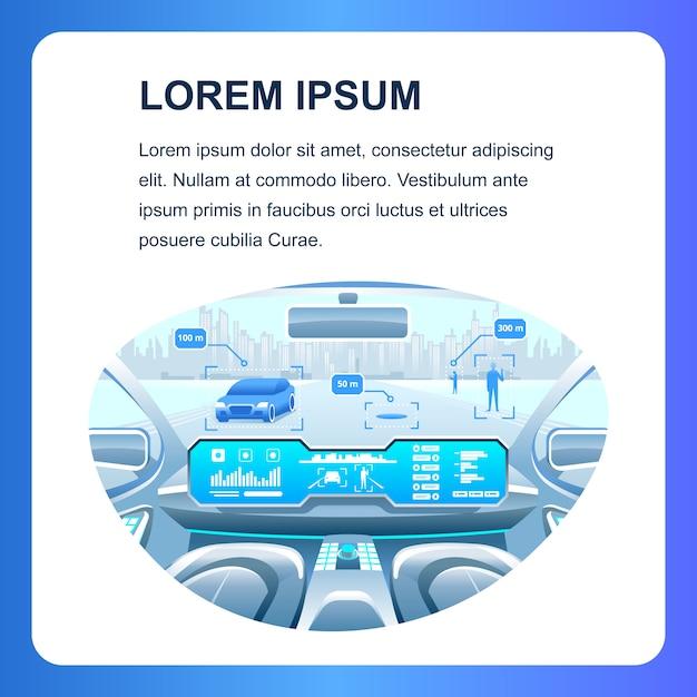 Smart car social media banner Vecteur Premium