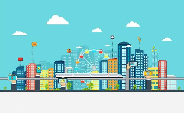 Smart city avec des enseignes commerciales, Vecteur Premium