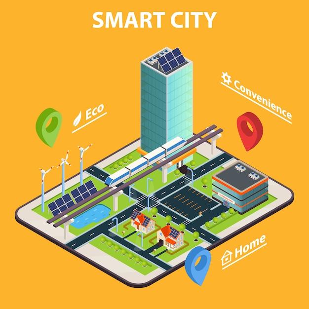 Smart city tablet concept Vecteur gratuit