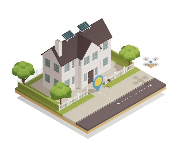 Smart city townhouse isometric Vecteur gratuit