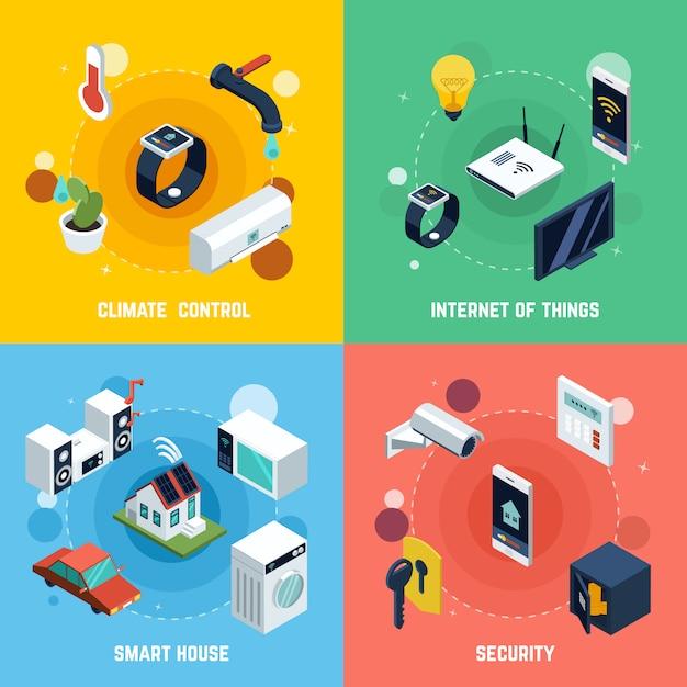 Smart home concept icons set Vecteur gratuit