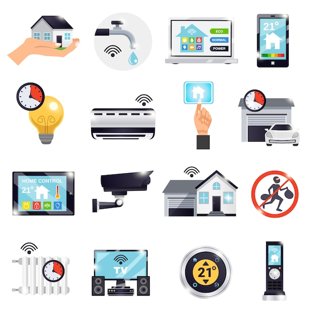 Smart home icon set Vecteur gratuit