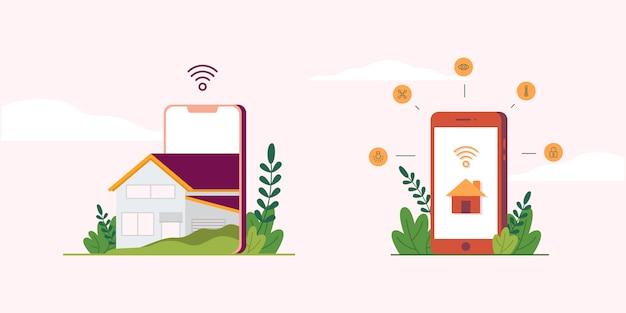 Smarthome illustration collection Vecteur Premium