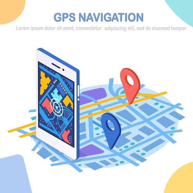 Smartphone 3d Isométrique Avec Application De Navigation Gps, Suivi. Téléphone Portable Avec Application Cartographique Vecteur Premium