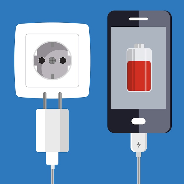 Smartphone et adaptateur chargeur Vecteur Premium