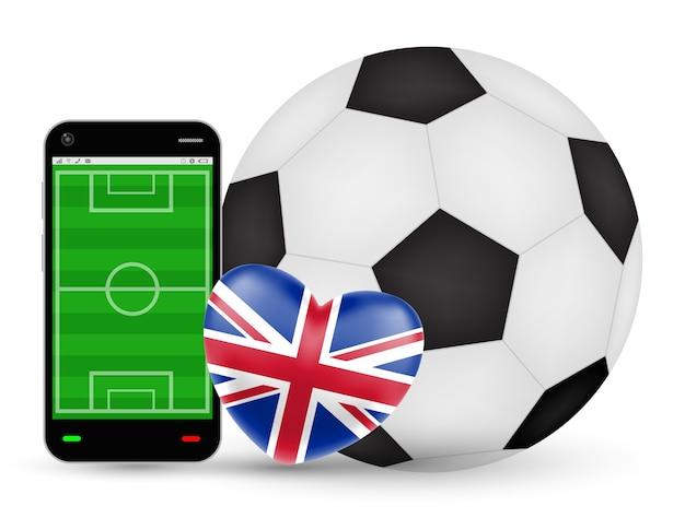 Smartphone Avec Amour Vecteur De Football Football Angleterre Vecteur Premium