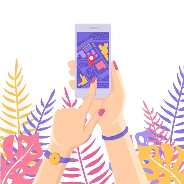Smartphone Avec Application De Navigation Gps, Suivi. Téléphone Portable Avec Application Cartographique Vecteur Premium