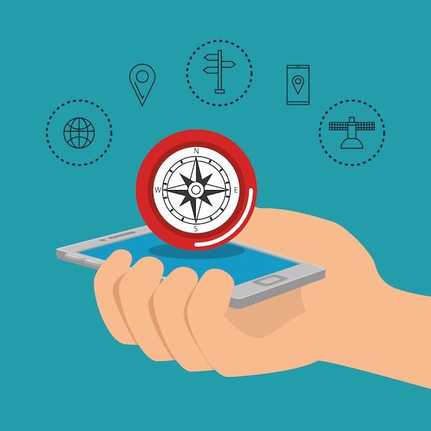Smartphone avec application de navigation gps Vecteur gratuit