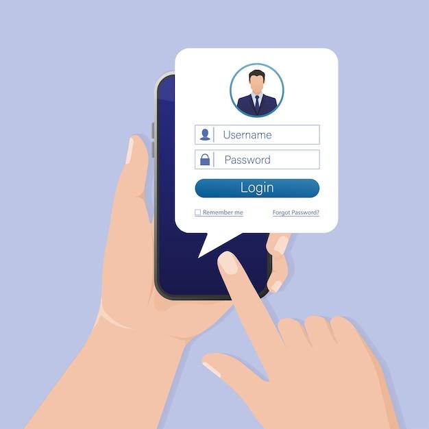 Smartphone De Connexion Utilisateur Pour Le Site. Interface Utilisateur De La Page D'application. Téléphone, Mobile, Smartphone ,. écran De L'appareil. Icône De L'entreprise. Vecteur Premium