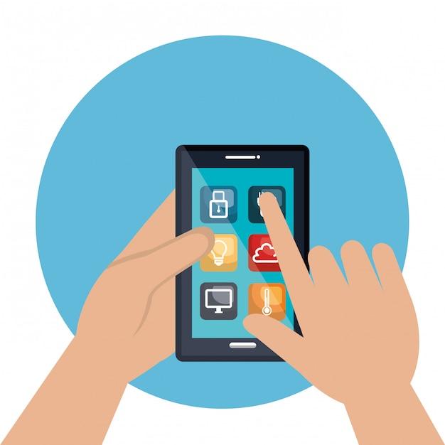 Smartphone contrôlant la maison intelligente Vecteur gratuit