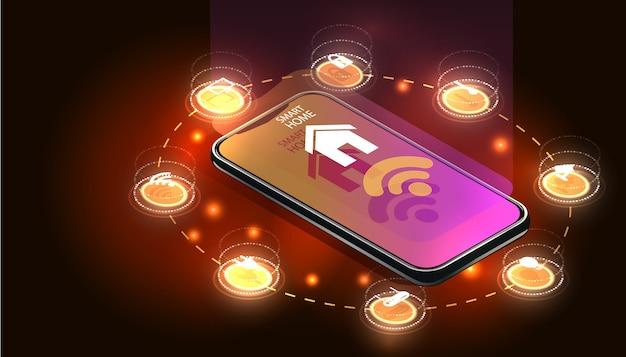 Smartphone Contrôlé Par La Maison Intelligente. Technologie Internet Des Objets Du Système Domotique. Petite Maison Debout Sur Un Téléphone Mobile à écran Et Des Connexions Sans Fil Avec Des Icônes D'appareils électroniques à Domicile. Iot Vecteur Premium