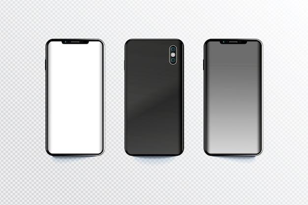 Smartphone dans différentes perspectives Vecteur gratuit