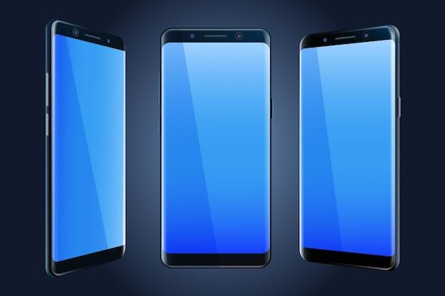 Smartphone dans différentes vues Vecteur gratuit