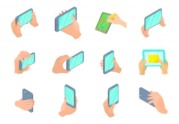 Smartphone dans le jeu d'icônes de la main Vecteur Premium