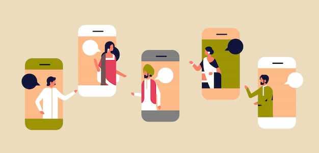 Smartphone écran chat bulle application mobile concept de communication Vecteur Premium