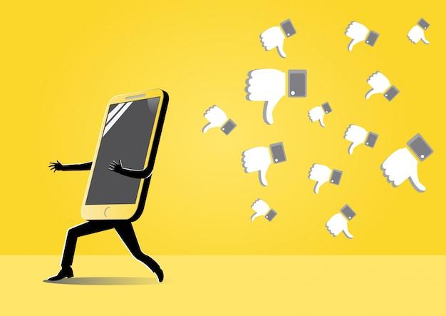 Smartphone fuyant symbole d'aversion forme Vecteur Premium