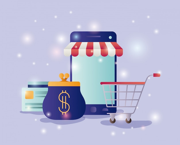 Smartphone avec icônes de commerce électronique parasol Vecteur Premium