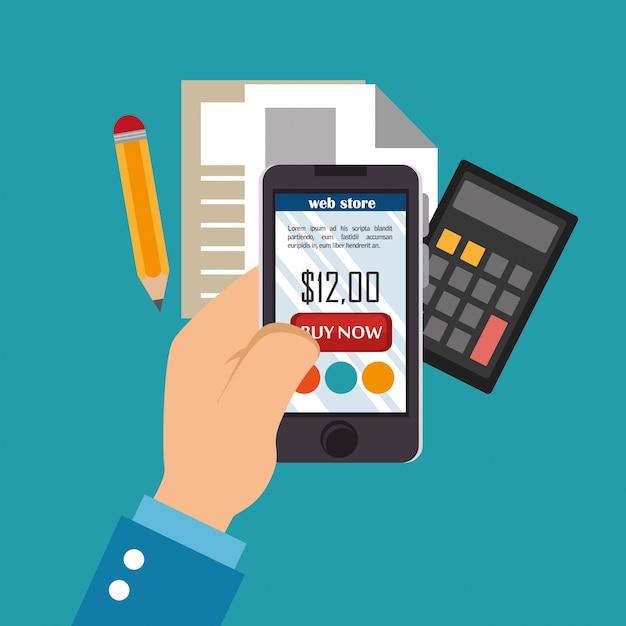 Smartphone avec des icônes de commerce électronique Vecteur gratuit