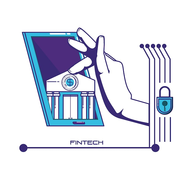 Smartphone avec des icônes de la technologie financière Vecteur Premium