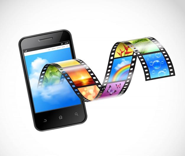 Smartphone avec illustration vidéo en streaming Vecteur gratuit