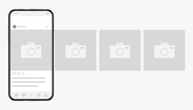 Smartphone Avec Interface Photo De Réseau Social à L'écran Vecteur Premium