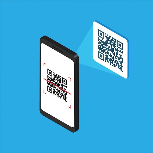 Smartphone Isométrique Avec Code Qr à L'écran. Traitez Le Code De Numérisation Par Téléphone. Autocollant D'étiquette Qr. Illustration Vectorielle Isolée Vecteur Premium