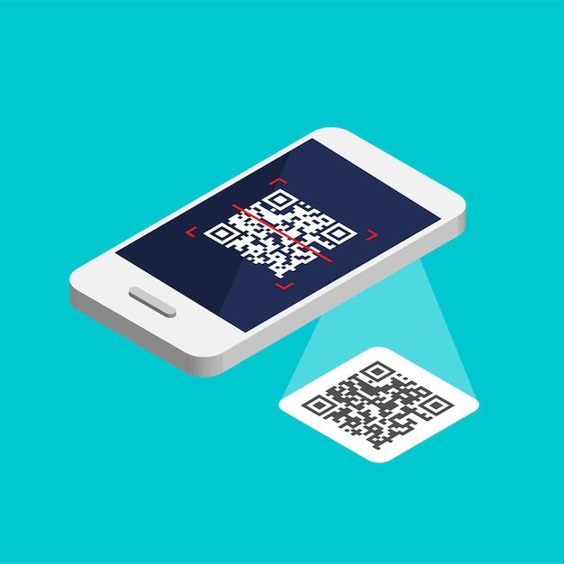 Smartphone Isométrique Avec Code Qr à L'écran. Traitez Le Code De Numérisation Par Téléphone. Autocollant D'étiquette Qr Solated Vecteur Premium