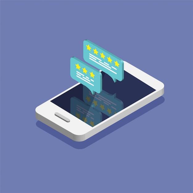 Smartphone Isométrique Avec Taux D'avis Sur L'écran. Vecteur Premium