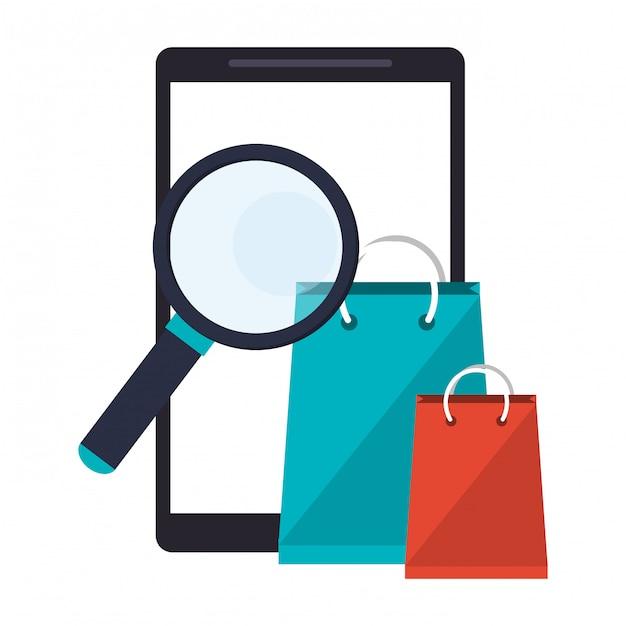 Smartphone avec loupe et sacs à provisions Vecteur Premium