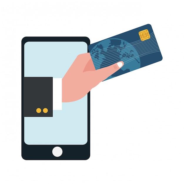 Smartphone avec la main d'homme d'affaires détenant la carte de crédit Vecteur Premium