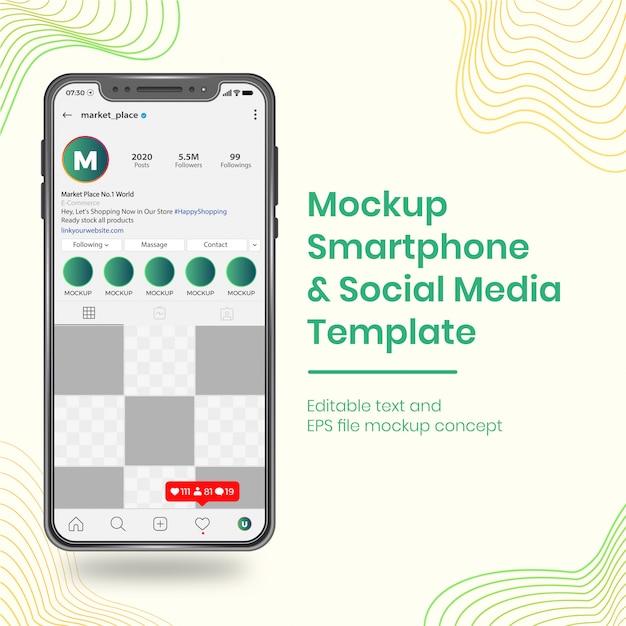 Smartphone De Mise En Page De Modèle De Médias Sociaux Réalistes Ui Ux Vecteur Premium