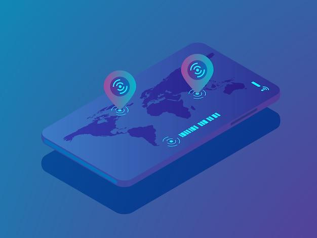 Smartphone mobile avec application de localisation, emplacement de la broche sur isométrique vecteur carte monde Vecteur Premium