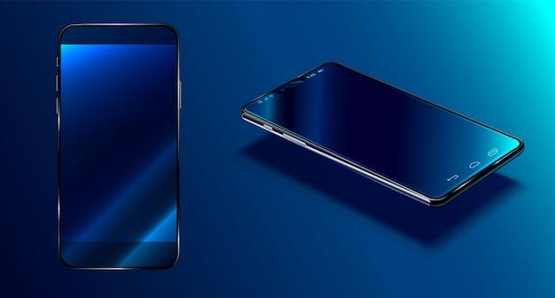Smartphone moderne surface bleu foncé en vue en perspective avec réflexion, téléphone 3d réaliste Vecteur Premium