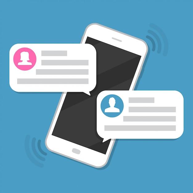 Smartphone avec notification des messages de discussion Vecteur Premium