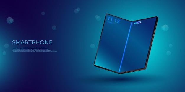Smartphone Pliable Avec écran Pliable. Affichage Flexible Du Téléphone Mobile Plié Suspendu Au-dessus De La Table Vecteur Premium