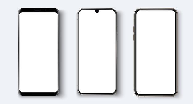 Smartphone Réaliste. Différents Modèles De Smartphones. Modèle De Téléphone Réaliste Pour Insérer N'importe Quelle Interface Ui Ux Vecteur Premium