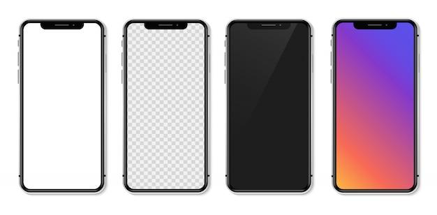 Smartphone Réaliste Avec écran Blanc Vide. Illustration Vecteur Premium