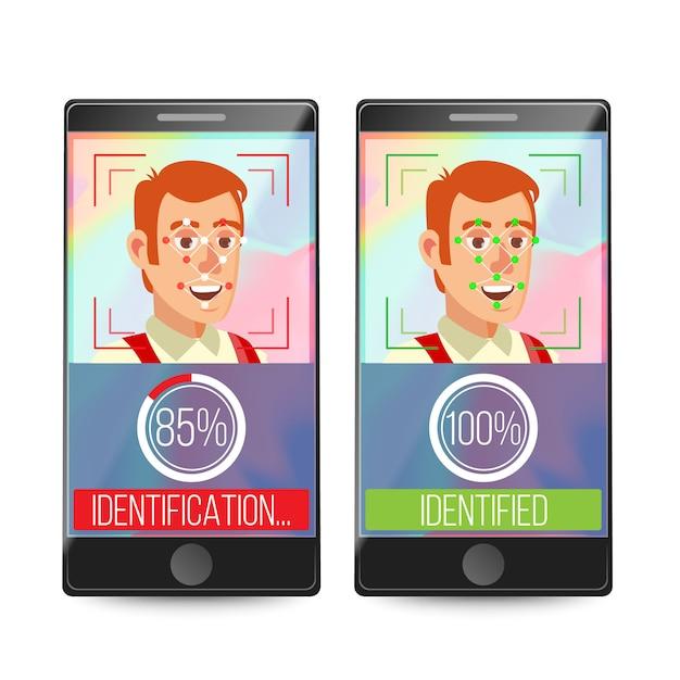 Smartphone scan person face Vecteur Premium