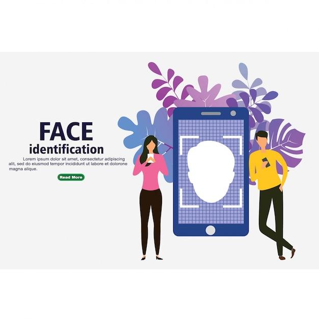 Smartphone scanne le visage d'une personne Vecteur Premium