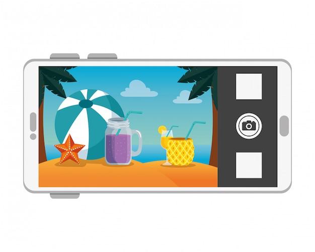 Smartphone avec scène de paysage marin de plage d'été Vecteur Premium