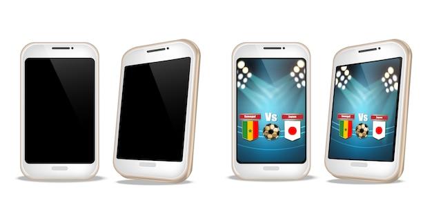 Smartphone Avec Score De Football à L'écran Vecteur Premium