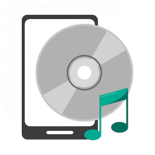 Smartphone Avec Symbole De La Musique Cd Vecteur Premium