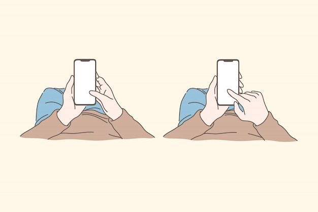 Smartphone, Technologie, Médias Sociaux, Dépendance, Concept De Jeu De Communication Vecteur Premium