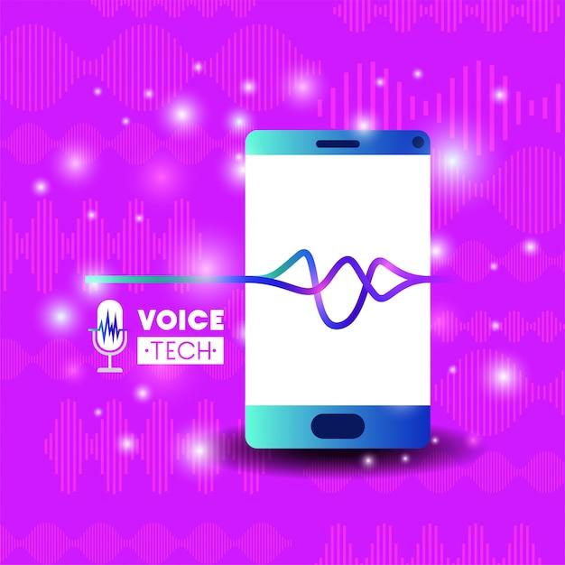 Smartphone avec technologie de reconnaissance vocale Vecteur Premium