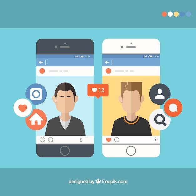 Smartphones avec instagram Vecteur gratuit