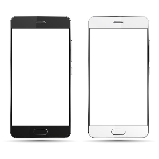 Smartphones Noir Et Blanc Isolés Avec écran Blanc. Vecteur Premium