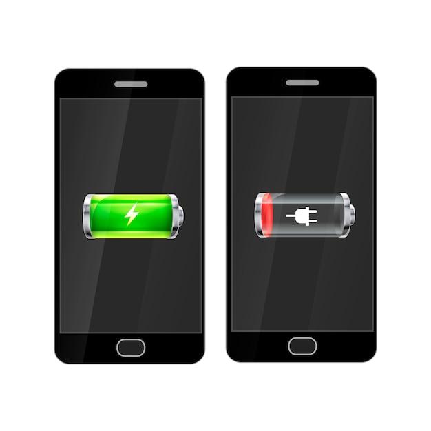 Smartphones noirs avec batterie brillante pleine et vide, isolés Vecteur Premium