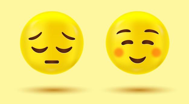 Smile And Sad Emoji Ou Emoticone Heureux Et Malheureux Vecteur Premium