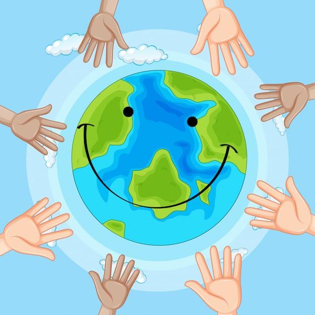 Smile emotion earth icon Vecteur gratuit
